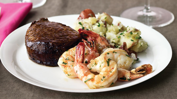 Steak and Shrimp with Parsley Potatoes