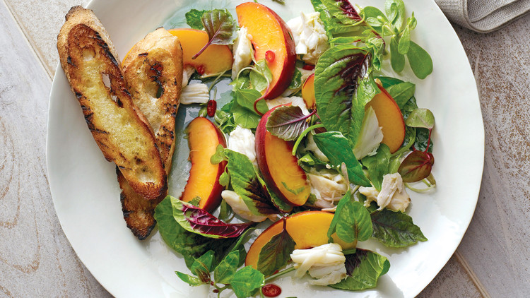 Peach and Crab Salad With Mesclun and Herbs