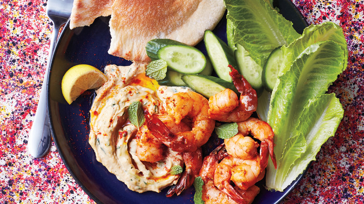 Paprika Shrimp with Hummus and Mint