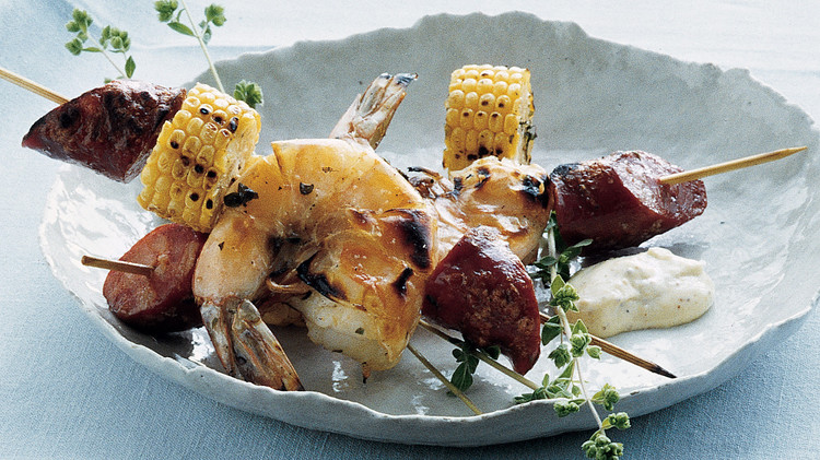 Grilled Jumbo Shrimp and Linguica with Corn