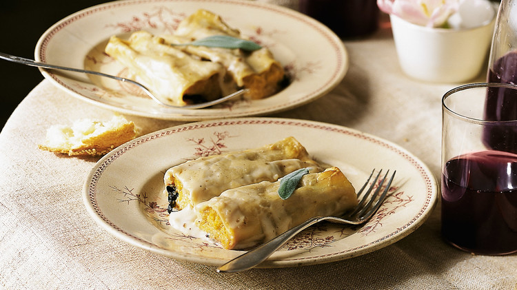 Butternut Squash Cannelloni with Sage-Walnut Cream Sauce