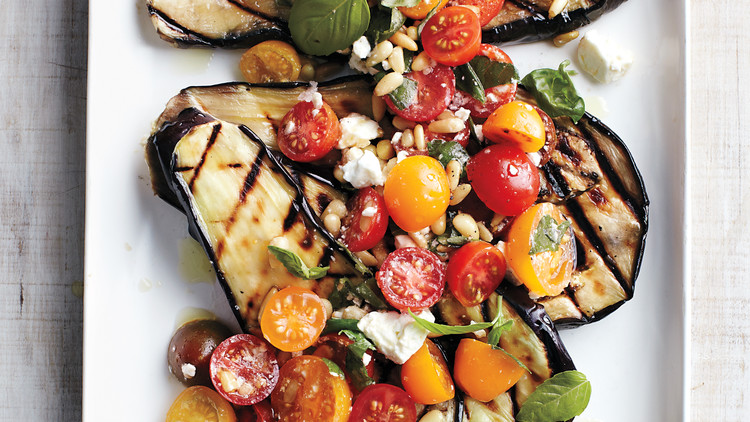 Grilled Eggplant with Tomatoes, Basil, and Feta