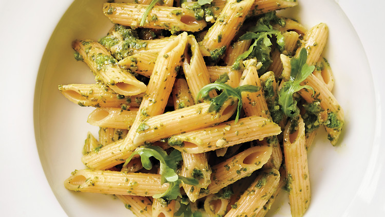 Penne Ligate with arugula-almond pesto