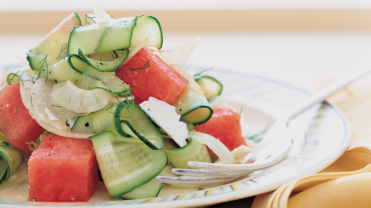 Shaved Cucumber, Fennel, and Watermelon Salad