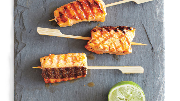 Curried Salmon Skewers