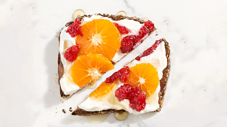 fruit yogurt honey toast