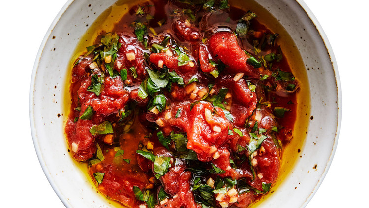 Gingery Tomato-Basil Sauce in white bowl