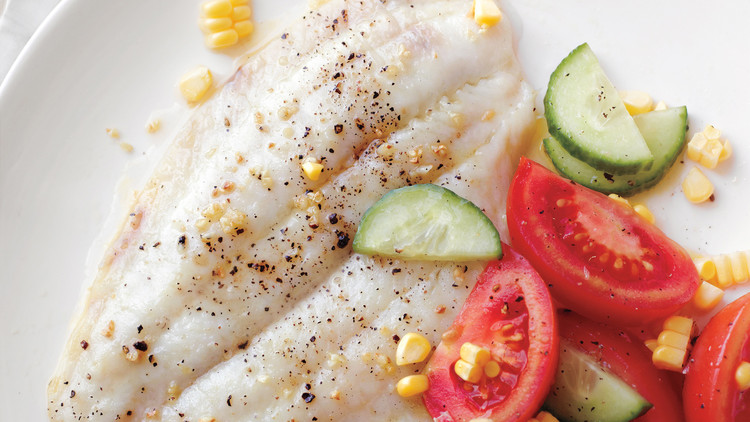 broiled fish with summer salad