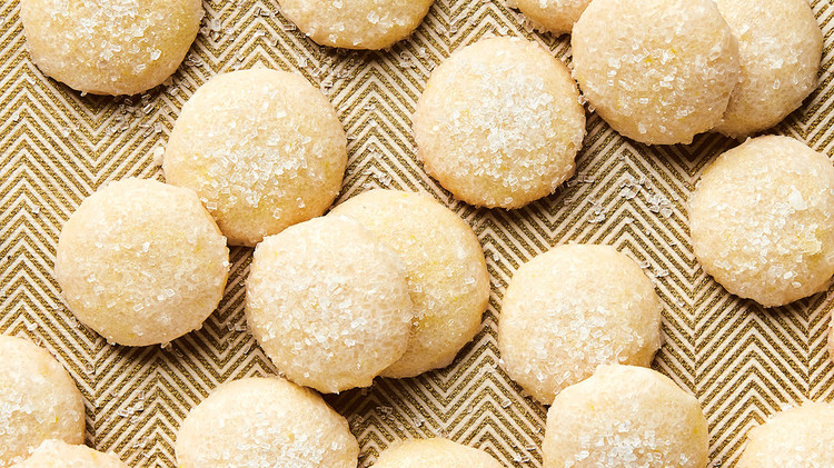sparkly lemon cookies dusted with sanding sugar