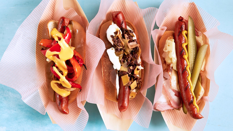 three varieties of cross-country hot dogs