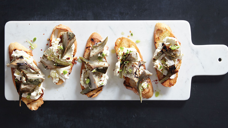 Grilled Artichoke, Green Garlic, and Goat Cheese Bruschetta