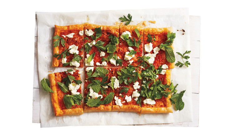 Harissa, Goat Cheese, and Herb Tart