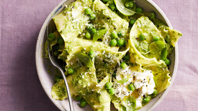 pea pesto handkerchiefs pasta in bowl with spoon