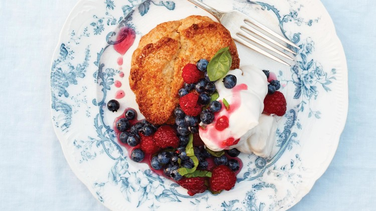 Lemon Shortcakes with Basil Berries