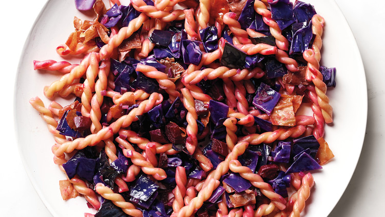 Gemelli with Red Cabbage, Beet, and Prosciutto