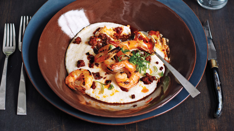 Grilled Shrimp and Grits with Chorizo and Salsa de Arbol