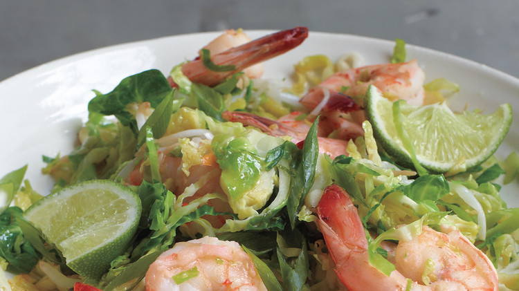 spicy shrimp and brussels sprouts