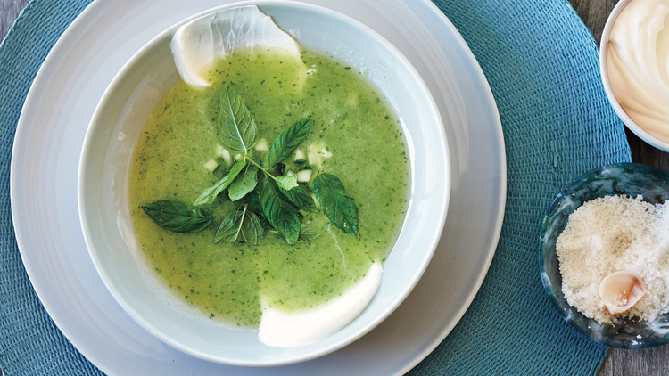 Chilled Melon, Cucumber, and Mint Soup