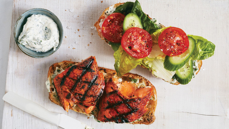 Grilled Salmon Sandwiches With Herbed Mayonnaise