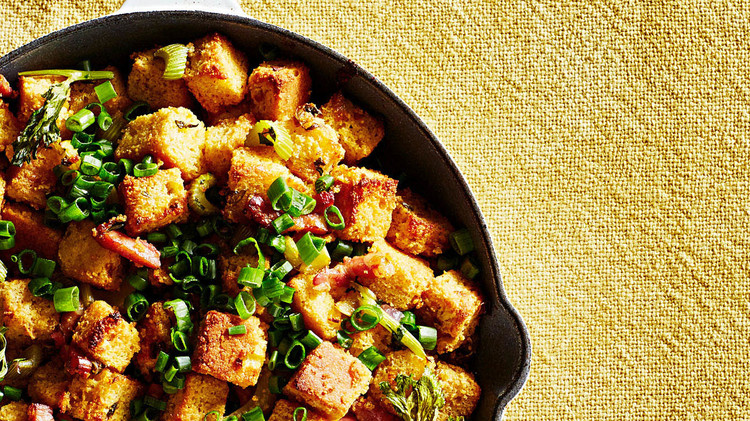 Cornbread Stuffing with Pancetta and Scallions