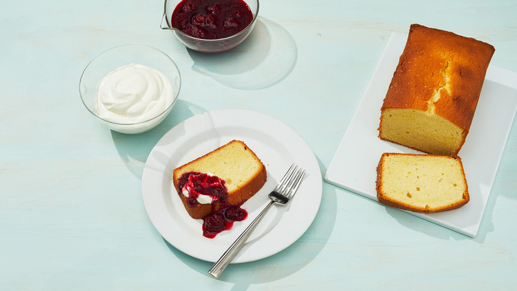 cream cheese pound cake with jam on sea foam green table