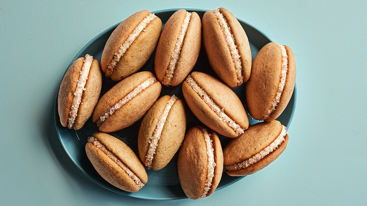 salted caramel whoopie pies served in a blue dish