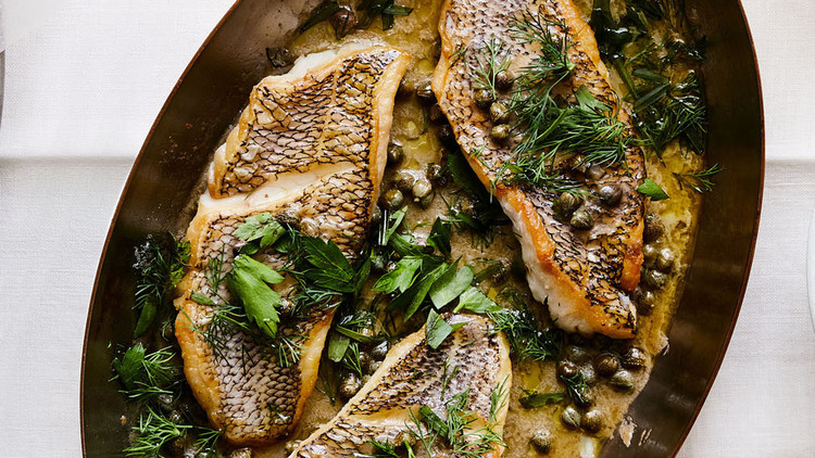 Sauteed Black Sea Bass With Capers and Herb-Butter Sauce