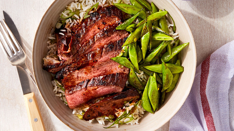 Curried Steak with Scallion Rice and Peas