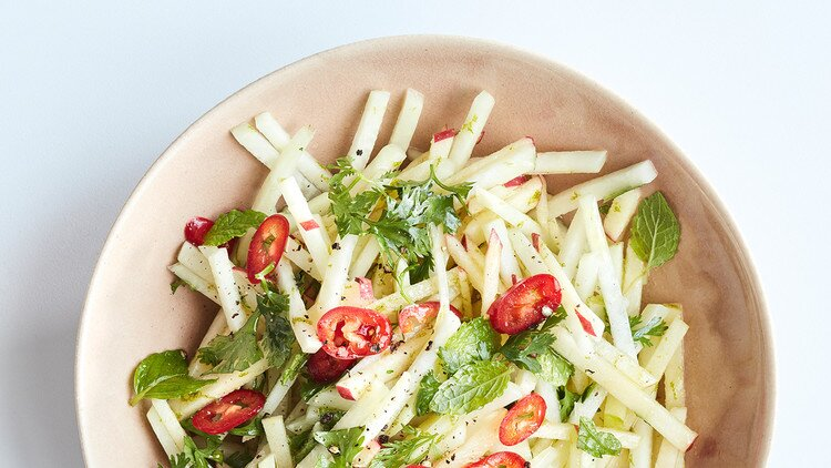 Kohlrabi Apple And Mint Slaw Recipe Martha Stewart