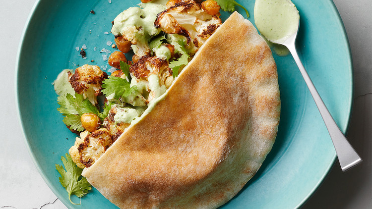 Cauliflower-and-Chickpea Pitas with Creamy Yogurt Sauce
