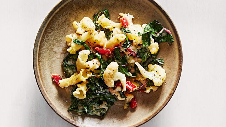 Baked Pasta with Cauliflower and Swiss Chard