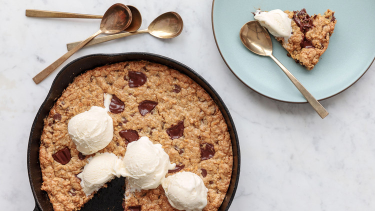 Chocolate-Chip Oat-Coconut Skillet Cookie