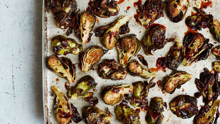 Roasted Brussels Sprouts with Honey-Chipotle Glaze