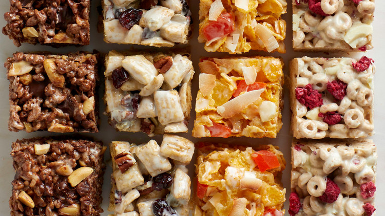 full grid of crispy rice cereal treats