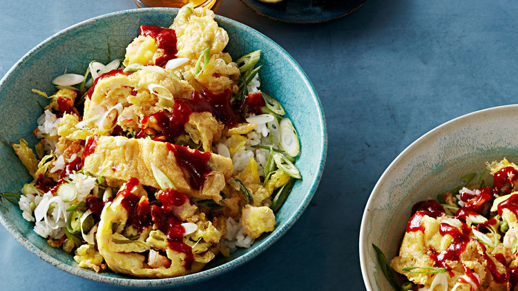Fried Omelet with Shrimp and Snap Peas