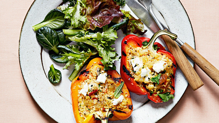 grilled vegetarian stuffed peppers