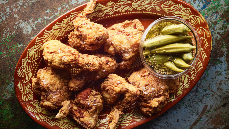 dilly pickled okra served with fried chicken