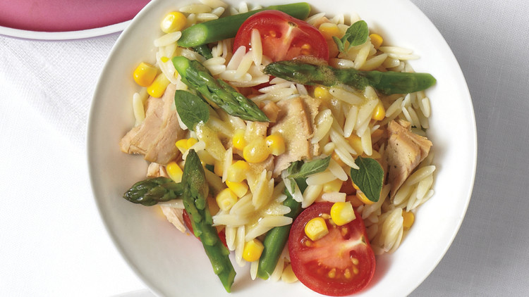 Orzo with Tuna, Corn, and Asparagus