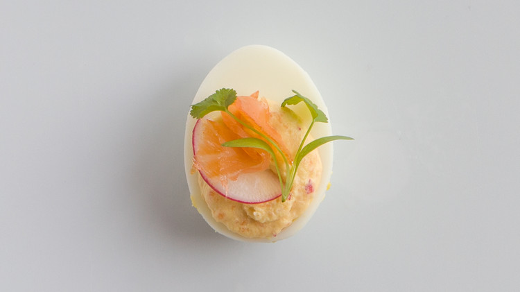 Smoked Salmon-Radish Deviled Eggs