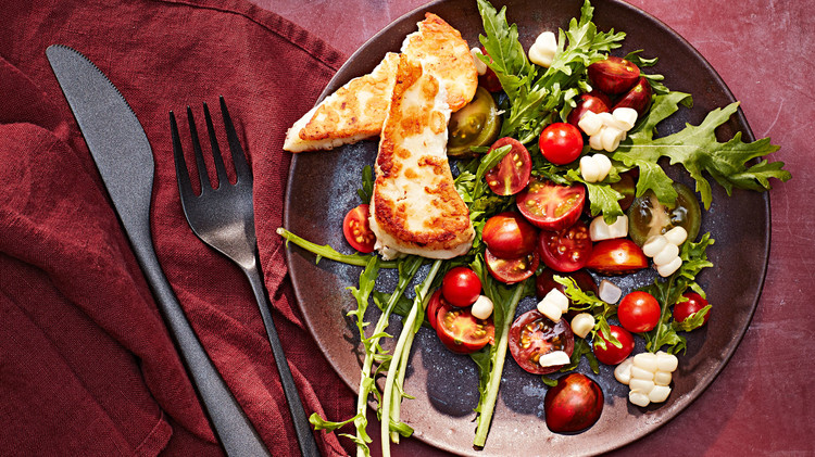 Cherry Tomato, Corn, and Halloumi Salad