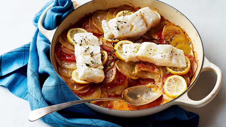 Baked Cod with Tomatoes and Potatoes