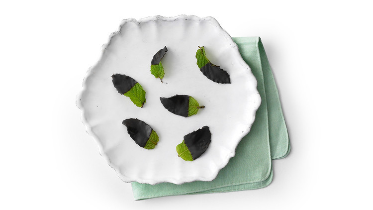 Frozen Chocolate-Mint Leaves