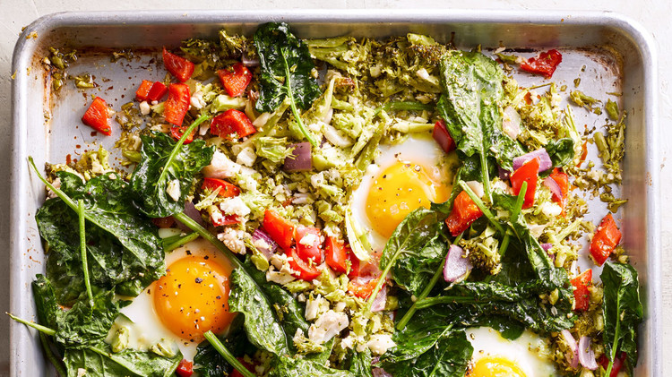 Sheet Pan Vegetable Hash with Eggs Shira Bocar