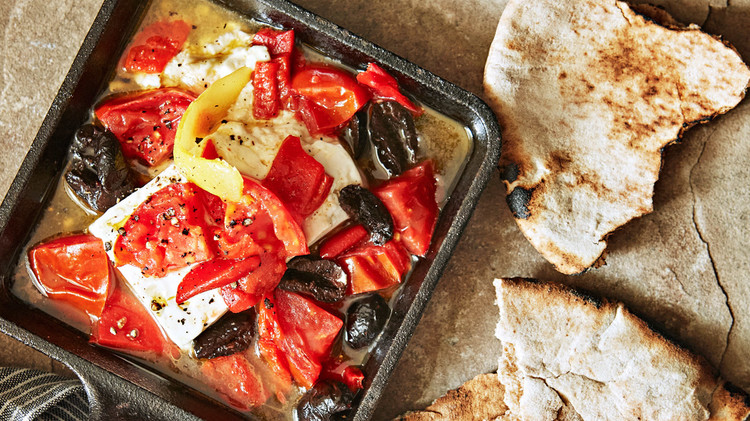 Tomato, Feta, and Red Pepper Cazuela