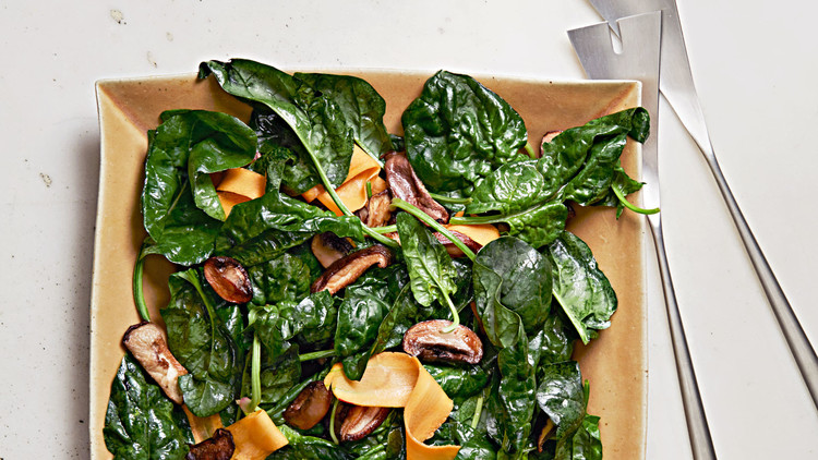 Warm Spinach Salad with Soy Vinaigrette