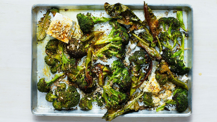 Roasted Broccoli with Seeds and Feta recipe