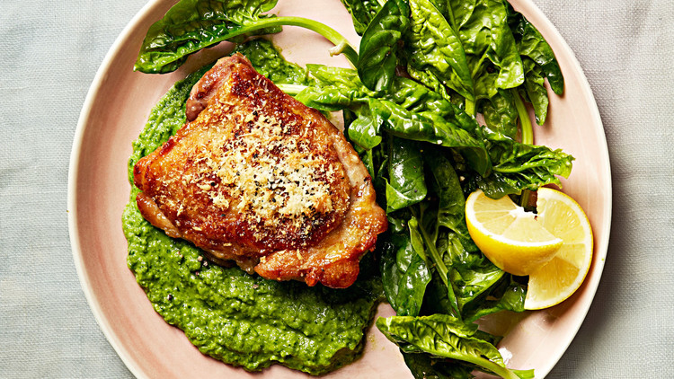 Chicken with Herbed-Pea Puree and Spinach