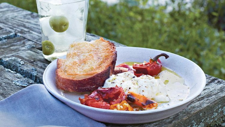 Grilled Bread and Chiles with Burrata