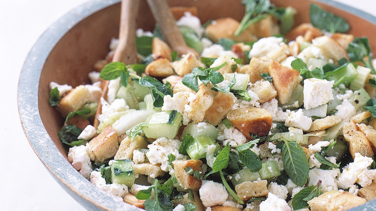 Pita-Bread Salad with Cucumber, Mint, and Feta
