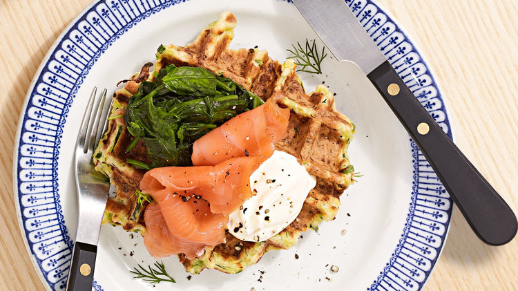 Zucchini Waffle with Smoked Salmon and Greens
